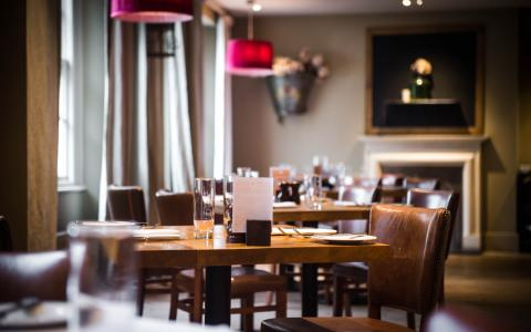 The dining room at The Grosvenor Arms, Shaftesbury