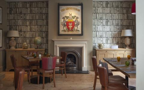 The library at The Grosvenor Arms, Shaftesbury